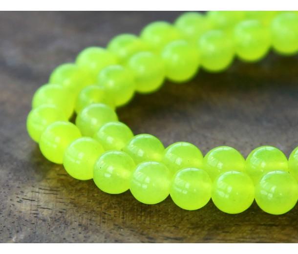 Neon Yellow Semi-Transparent Jade Beads, 6mm Round