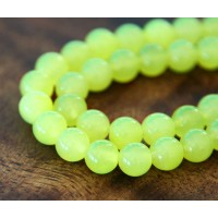 Neon Yellow Semi-Transparent Jade Beads, 8mm Round