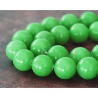 Apple Green Mountain Jade Beads, 12mm Round