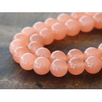 Coral Semi-Transparent Jade Beads, 10mm Round