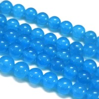 Light Denim Blue Semi-Transparent Jade Beads, 12mm Round