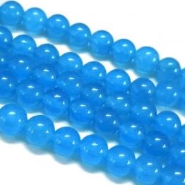 Light Denim Blue Semi-Transparent Jade Beads, 12mm Round