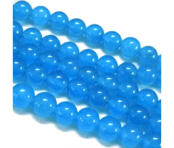 Denim Blue Semi-Transparent Jade Beads, 12mm Round