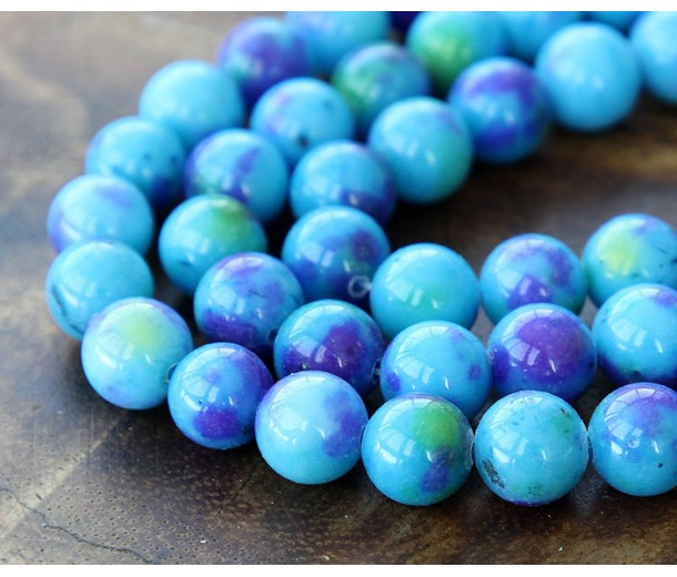 Blue, Purple and Green Multicolor Jade Beads, 10mm Round