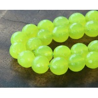 Neon Green Candy Jade Beads, 10mm Faceted Round