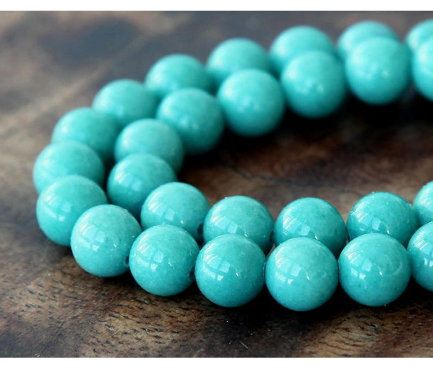Teal Blue Mountain Jade Beads, 8mm Round