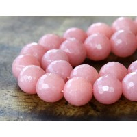 Mauve Pink Candy Jade Beads, 10mm Faceted Round