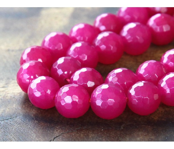 Fuchsia Candy Jade Beads, 10mm Faceted Round