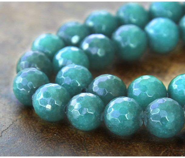 Dark Teal Candy Jade Beads, 10mm Faceted Round