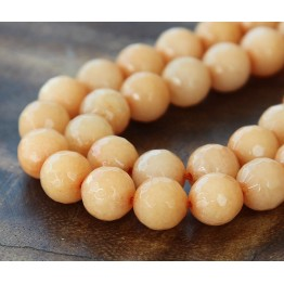 Peach Candy Jade Beads, 10mm Faceted Round