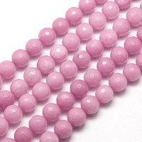 Rose Pink Candy Jade Beads, 8mm Faceted Round