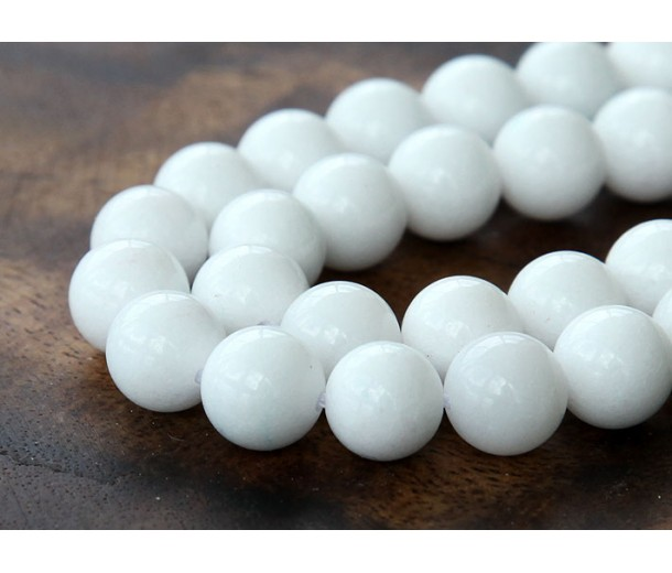 White Mountain Jade Beads, 10mm Round