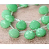 Pastel Green Candy Jade Beads, 13mm Faceted Drop, Pack of 4 Beads