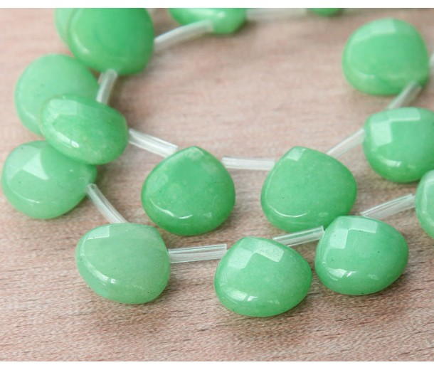 Pastel Green Candy Jade Beads, 13mm Faceted Drop