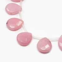 Rose Pink Candy Jade Beads, 15x12mm Faceted Drop
