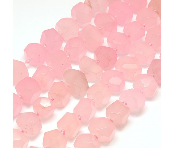 Rose Pink Candy Jade Beads, Chunky Faceted Nugget