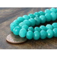 Teal Green Candy Jade Beads, 8x5mm Faceted Rondelle