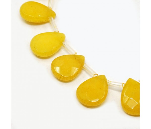Sun Yellow Candy Jade Beads, 15x12mm Faceted Drop, Pack of 4 Beads
