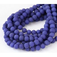 Cobalt Blue Matte Jade Beads, 6mm Round