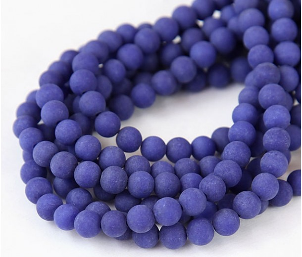 Cobalt Blue Matte Jade Beads, 6mm Round