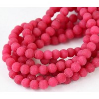 Berry Red Matte Jade Beads, 6mm Round