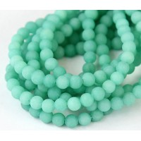 Teal Green Matte Jade Beads, 6mm Round