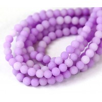 Light Purple Matte Jade Beads, 6mm Round