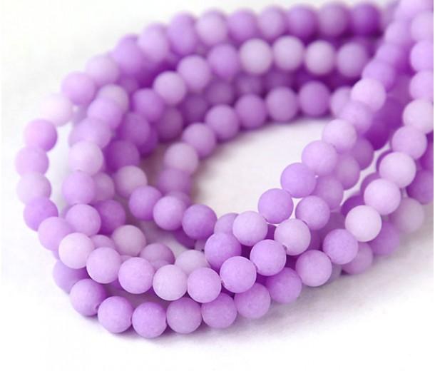 Light Purple Matte Jade Beads, 6mm Round