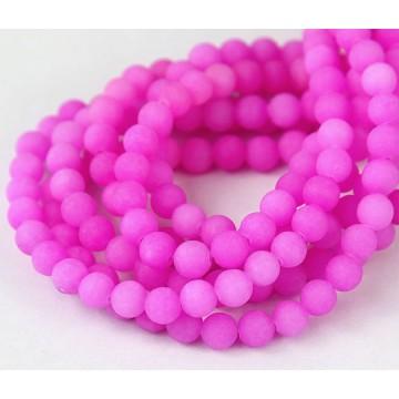 Hibiscus Pink Matte Jade Beads, 6mm Round