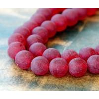 Dark Red Matte Jade Beads, 10mm Round