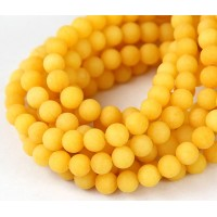 Sun Yellow Matte Jade Beads, 6mm Round