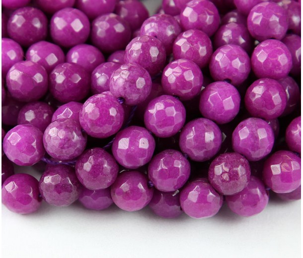 Dark Orchid Candy Jade Beads, 8mm Faceted Round