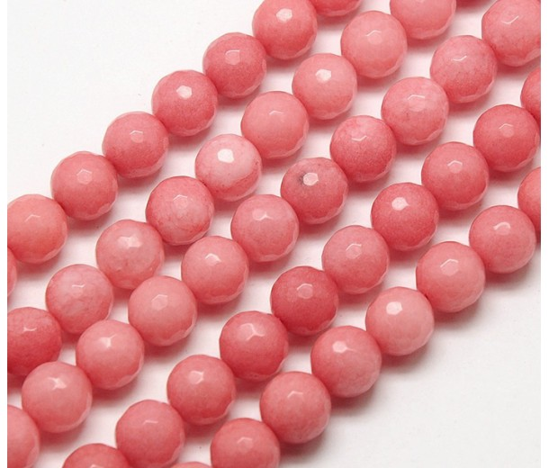 Carnation Pink Candy Jade Beads, 10mm Faceted Round