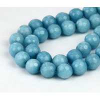 Steel Blue Candy Jade Beads, 8mm Faceted Round