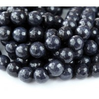 Midnight Blue Candy Jade Beads, 10mm Faceted Round