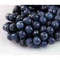 Midnight Blue Candy Jade Beads, 8mm Faceted Round