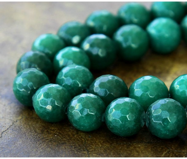 Hunter Green Candy Jade Beads, 8mm Faceted Round
