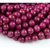 Dark Magenta Candy Jade Beads, 6mm Faceted Round