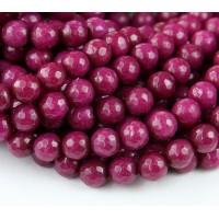 Dark Magenta Candy Jade Beads, 6mm Faceted Round