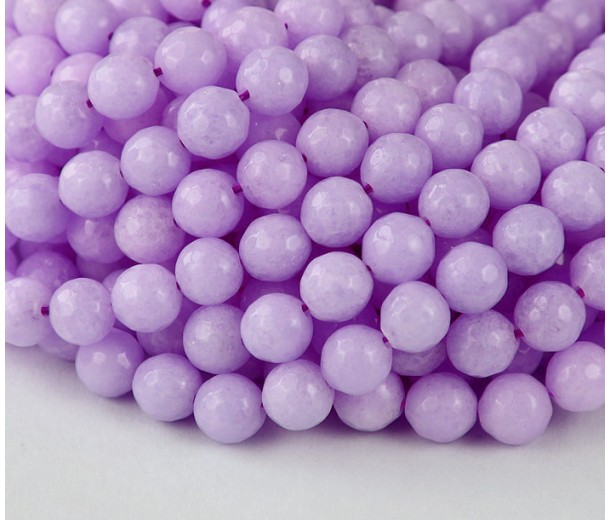 Lilac Candy Jade Beads, 6mm Faceted Round