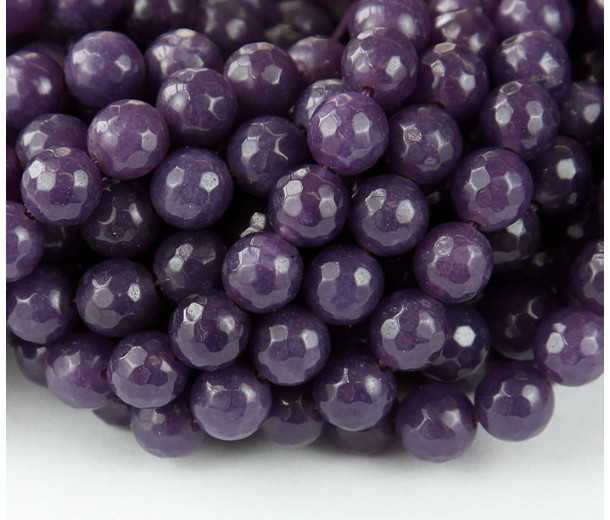 Subdued Purple Candy Jade Beads, 8mm Faceted Round