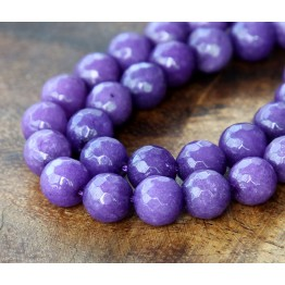 Purple Candy Jade Beads, 10mm Faceted Round