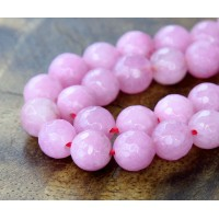 Pink Candy Jade Beads, 6mm Faceted Round