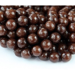 Coffee Brown Candy Jade Beads, 10mm Faceted Round