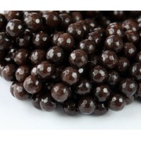Coffee Brown Candy Jade Beads, 8mm Faceted Round