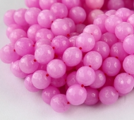 Hibiscus Pink Candy Jade Beads, 10mm Faceted Round