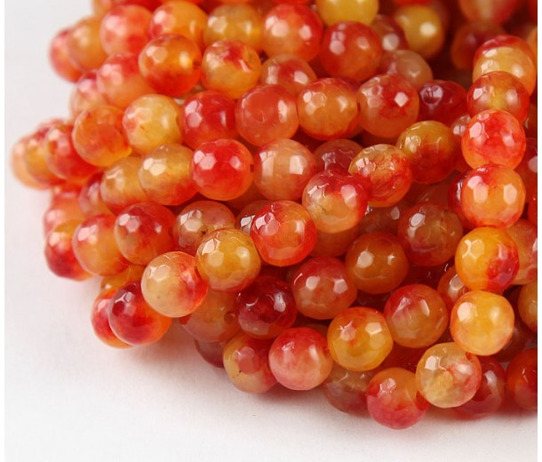 Orange and Red Multicolor Jade Beads, 8mm Faceted Round