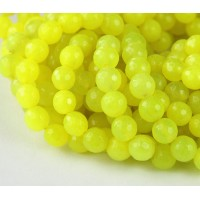 Neon Yellow Candy Jade Beads, 6mm Faceted Round