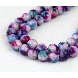 Fancy Purple Multicolor Jade Beads, 8mm Round