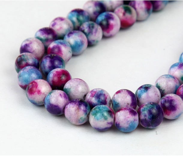Fancy Purple Multicolor Jade Beads, 6mm Round